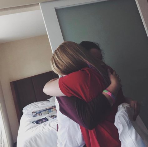 Tarantino giving the warmest hug to her internet friend in hotel room. Courtesy of Tarantino.