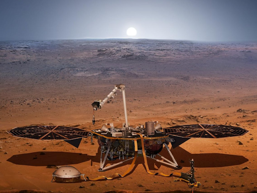 Illustration of the InSight craft on Mars. Courtesy of NASA-JPL Caltech.