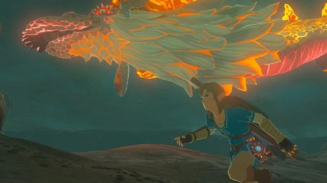 Link running next to dragon Drinaal
