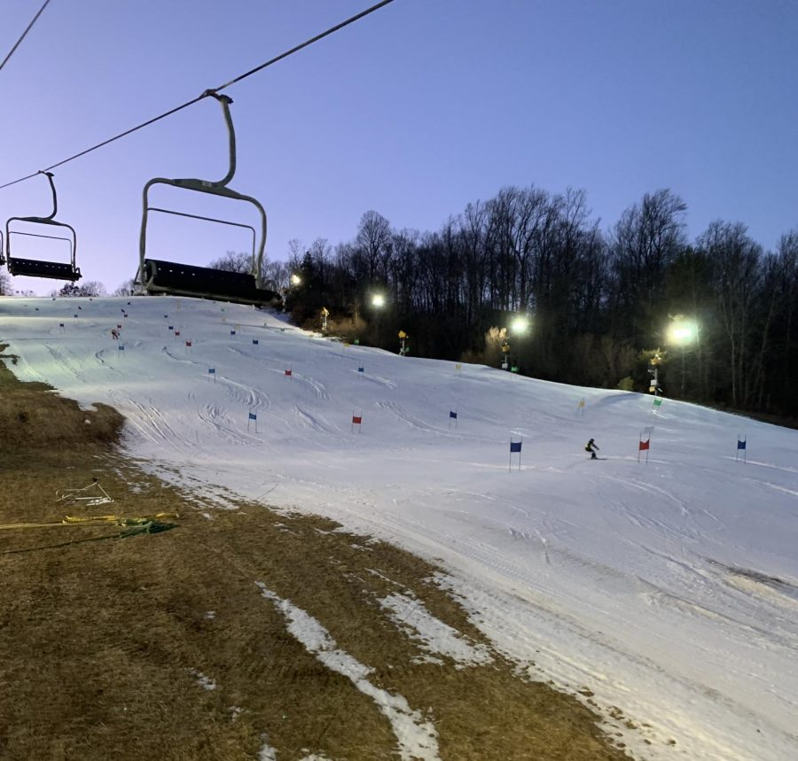 Photo taken from the chairlift as the skiers head up the mountain for their time trials.