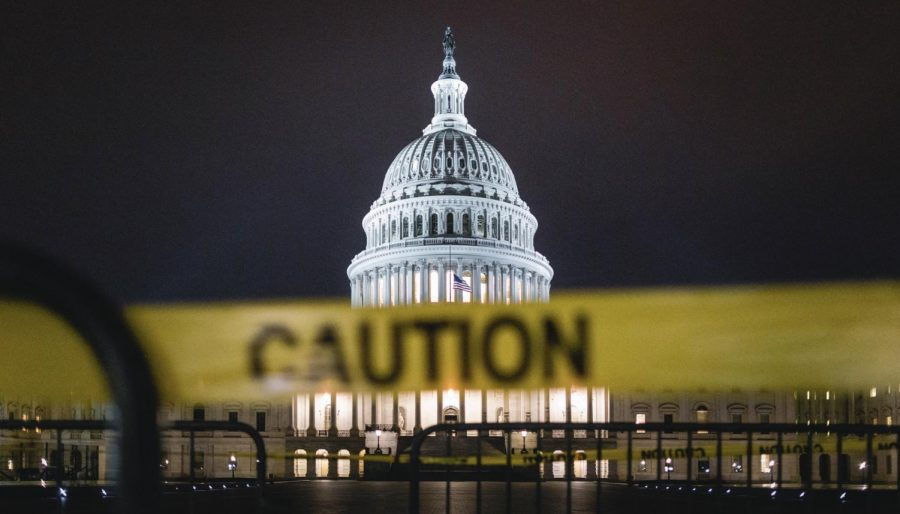 US Capitol building with Caution tape in foreground