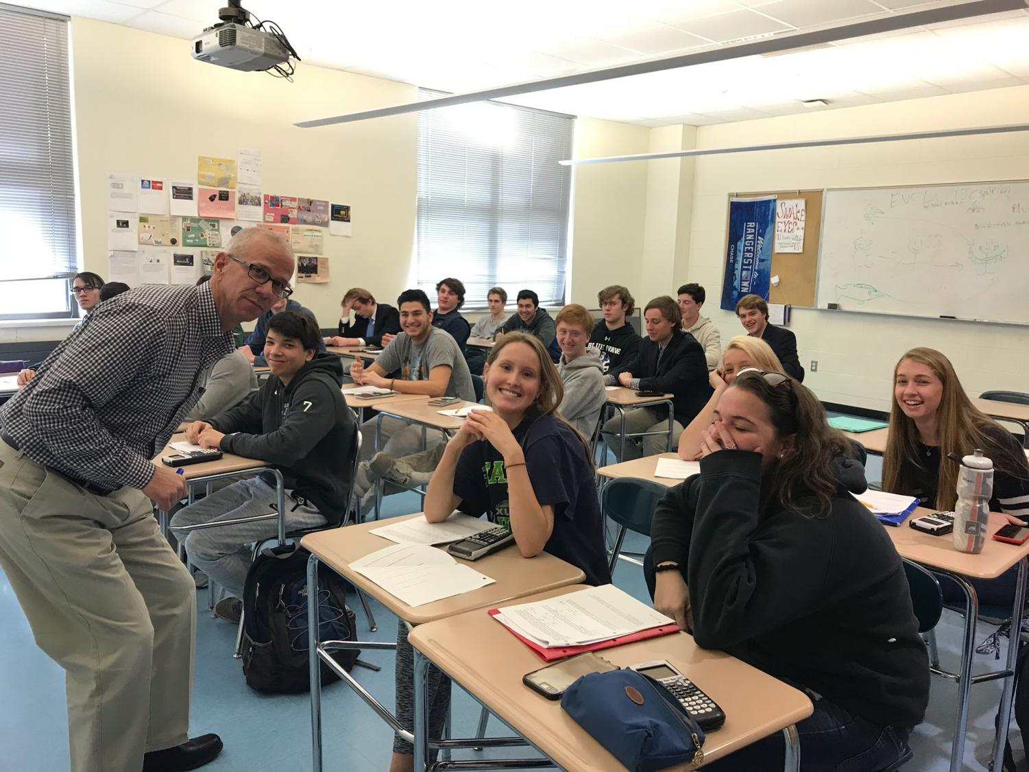 Mr. Coppock's statistic class smiles after accomplishing their work