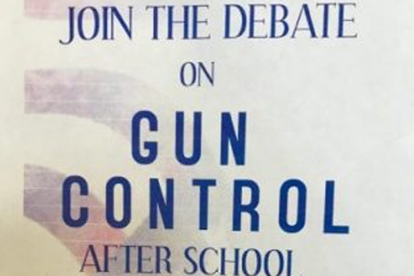 DHS' Model Congress hung posters promoting an after school conversation about how students feel about gun control.
