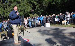 Senator Blumenthal speaking at the Darien Democrats rally.