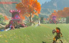 Link fighting two guardians