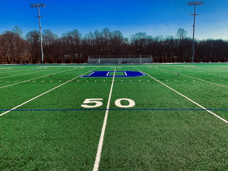 Center of the Blue Wave Stadium Turf Field at the 50 yard line
