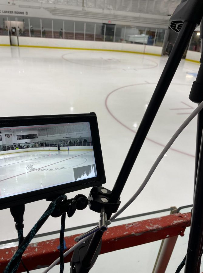 For camera operators, they have a mini monitor to see what they're filming